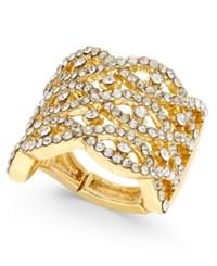 Inc International Concepts Gold Tone Crystal Pave Interwoven Stretch Ring Only At Macy's