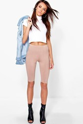Boohoo Basic Jersey Knee Length Leggings Camel