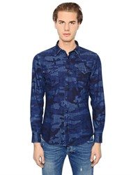 Hydrogen Avocado Camouflage Cotton Denim Shirt