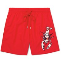 Vilebrequin Motu Slim Fit Mid Length Appliqued Swim Shorts Red