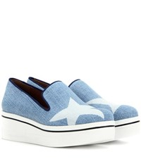 Stella Mccartney Binx Star Denim Platform Slip On Sneakers Blue