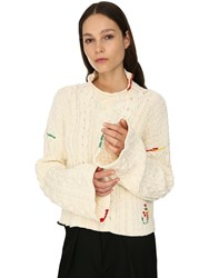 J.W.Anderson Cropped Cotton Knit Sweater Ivory