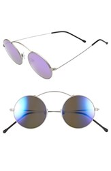 Spektre Women's 'Met Ro 1' 47Mm Round Sunglasses Silver Purple Mirror Silver Purple Mirror