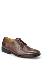 Sandro Moscoloni Men's Ronny Embossed Cap Toe Derby Brown Leather