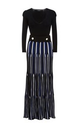 Derek Lam Belted Long Sleeve Dress Blue