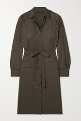 Tom Ford Belted Washed Twill Shirt Dress Army Green