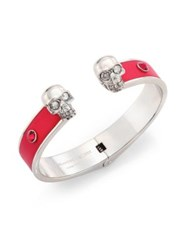 Alexander Mcqueen Twin Skull Crystal And Leather Cuff Raspberry