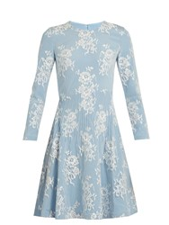 Huishan Zhang Kiera Cotton Blend Floral Lace Dress Light Blue