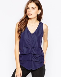 Minimum Sleeveless V Neck Top With Ruched Front 683Twilightblue