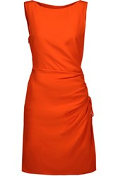 Moschino Ruched Silk Crepe Dress Bright Orange