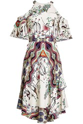 Etro Printed Silk Cold Shoulder Dress
