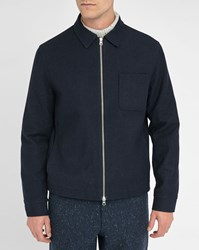 Oliver Spencer Navy Dover Zipped Wool Shirt Style Jacket
