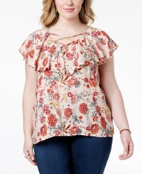Planet Gold Trendy Plus Size Printed Lace Up Ruffle Top Pink Combo
