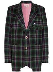 Natasha Zinko Oversized Checked Blazer Green