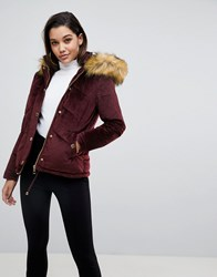 Lipsy Velvet Puffer Jacket With Faux Fur Hood And Gold Trims Red