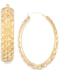 Signature Gold Diamond Accent Textured Hoop Earrings In 14K Over Resin Yellow Gold