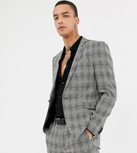 Heart And Dagger Super Skinny Suit Jacket In Grey Check