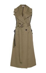 Tome Cotton Sleeveless Trench Coat Khaki
