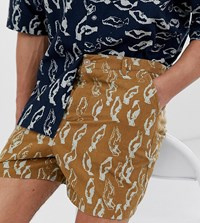 Asos White Tall Co Ord Boxy Shorts In Abstract Print Heavy Crinkle Cotton Brown