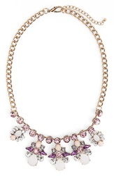 Rove Pearl Ornate Crystal Statement Necklace Purple Gold