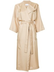 Astraet Belted Draped Coat Brown