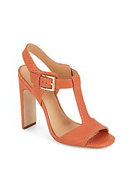 Halston Embossed Leather Sandals Terracota