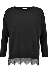 Joie Hilano Lace Trimmed Knitted Sweater Black