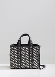 Pierre Hardy Mini Archi Canvas Cube Tote Black White Black