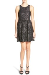 Frenchi Shimmer Jacquard Skater Dress Black