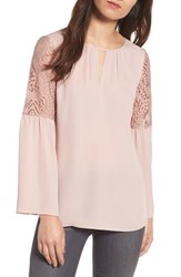 Chelsea 28 Women's Chelsea28 Lace Bell Sleeve Top Pink Adobe