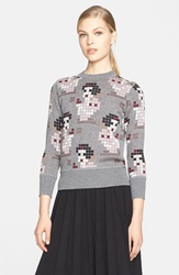 Marc Jacobs Pixelated Snow White Cashmere And Silk Sweater Rose Mutli