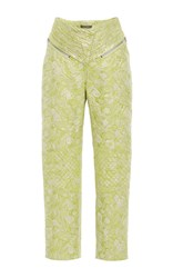Zac Posen Hosta Jacquard High Waisted Trousers Green
