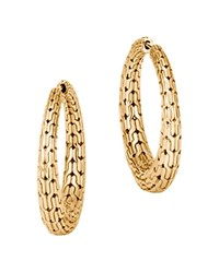 John Hardy 18K Yellow Gold Classic Chain Graduated Medium Hoop Earrings