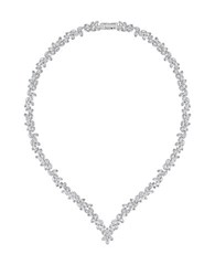 Swarovski Crystal V Necklace Silver