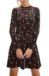 Topshop Women's Ditsy Print Velvet Skater Dress