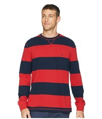 Nautica Long Sleeve Rugby Stripe Sweater Rescue Red Clothing
