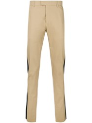 Les Hommes Satin Trim Trousers Nude And Neutrals