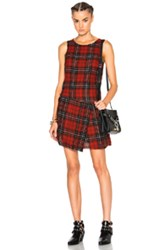 R 13 R13 Asymmetrical Kilt Dress In Red Checkered And Plaid Red Checkered And Plaid