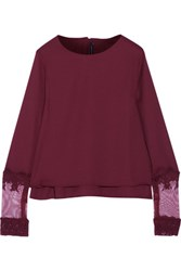 W118 By Walter Baker Muriel Lace Trimmed Layered Crepe De Chine Blouse Burgundy