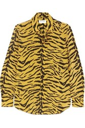 Saint Laurent Zebra Print Silk Crepe Shirt Yellow