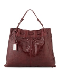 Badgley Mischka Adalyn Crocodile Embossed Tote Bag Burgundy