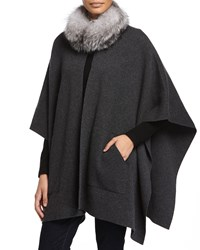 Sofia Cashmere Cashmere Fur Trim Poncho W Pockets Charcoal Grey