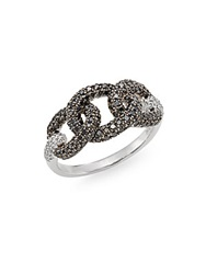 Effy Final Call Black Diamond White Diamond And 14K White Gold Chainlink Ring White Gold Black