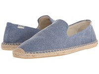 Soludos Smoking Slipper Washed Canvas Blue Slippers