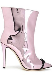 Marco De Vincenzo Bow Embellished Mirrored Leather Ankle Boots Baby Pink