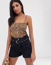 Mango Shirred Floral Print Cami Top In Orange Yellow