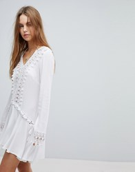 Surf Gypsy Crochet Trim Lace Up Beach Cover Up White