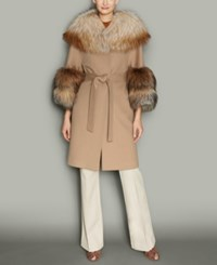 The Fur Vault Fox Trim Wool Walker Coat Camel