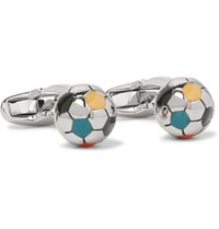 Paul Smith Football Enamelled Silver Tone Cufflinks Multi