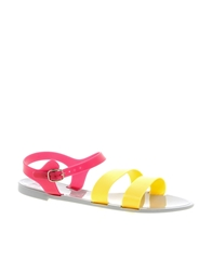 Juju Seven Flat Sandal With Buckle Strap Yellowpink